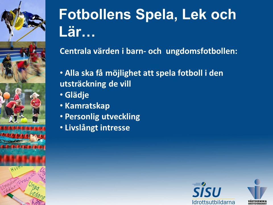 Fotbollens Spela, Lek och Lär… Centrala värden i barn- och ungdomsfotbollen: Alla ska få möjlighet att spela fotboll i den utsträckning de vill Glädje Kamratskap Personlig utveckling Livslångt intresse