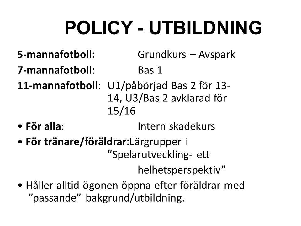 POLICY - UTBILDNING 5-mannafotboll: Grundkurs – Avspark 7-mannafotboll:Bas 1 11-mannafotboll:U1/påbörjad Bas 2 för 13- 14, U3/Bas 2 avklarad för 15/16 För alla:Intern skadekurs För tränare/föräldrar:Lärgrupper i Spelarutveckling- ett helhetsperspektiv Håller alltid ögonen öppna efter föräldrar med passande bakgrund/utbildning.