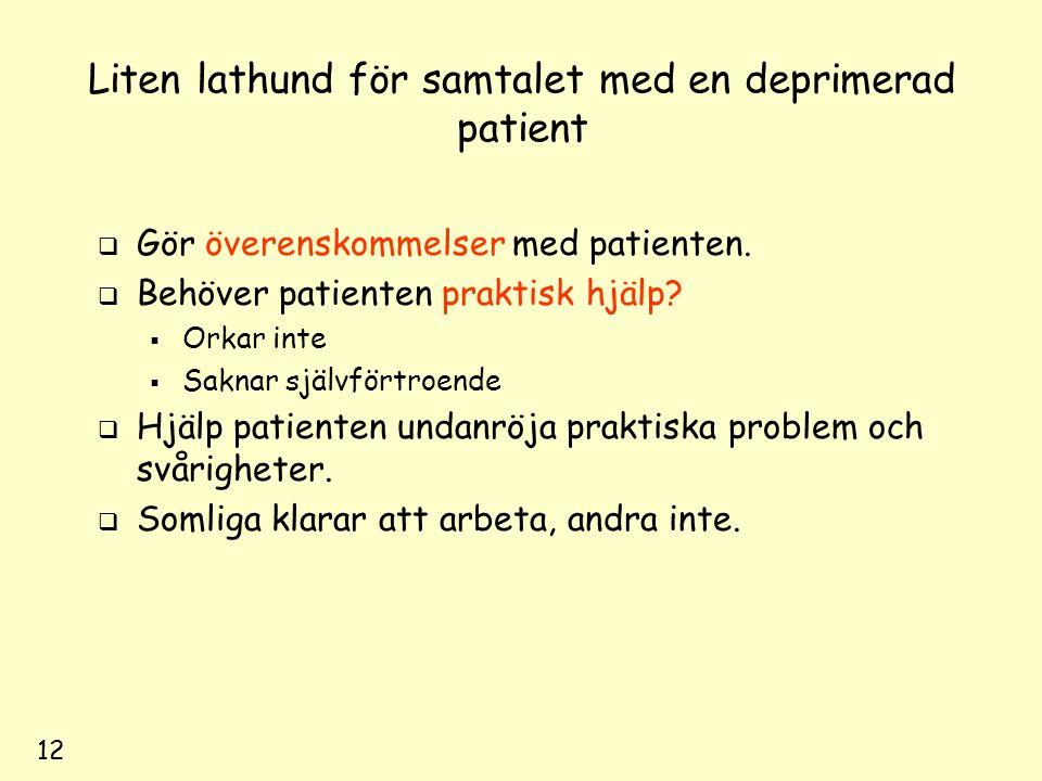 12 Liten lathund för samtalet med en deprimerad patient  Gör överenskommelser med patienten.