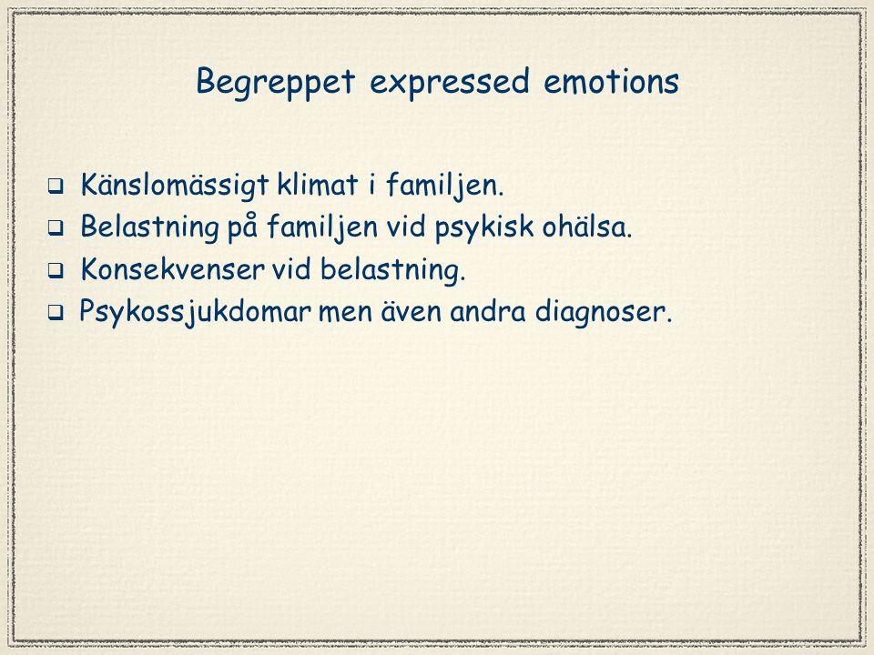 Begreppet expressed emotions  Känslomässigt klimat i familjen.