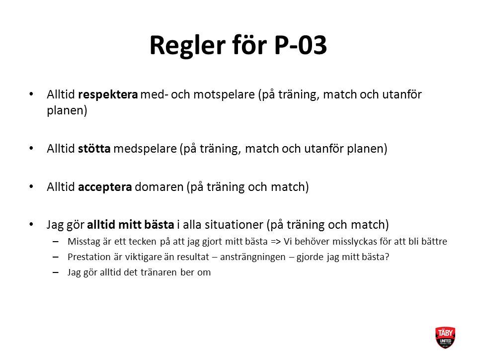 Regler för P-03 Alltid respektera med- och motspelare (på träning, match och utanför planen) Alltid stötta medspelare (på träning, match och utanför p