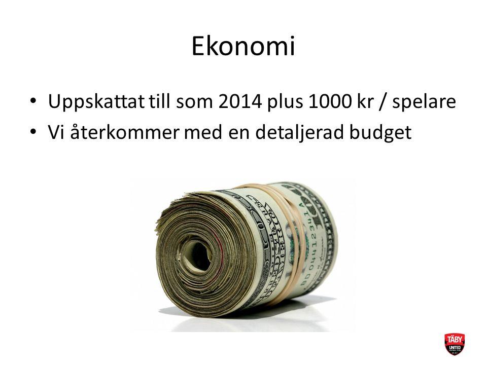 Ekonomi Uppskattat till som 2014 plus 1000 kr / spelare Vi återkommer med en detaljerad budget