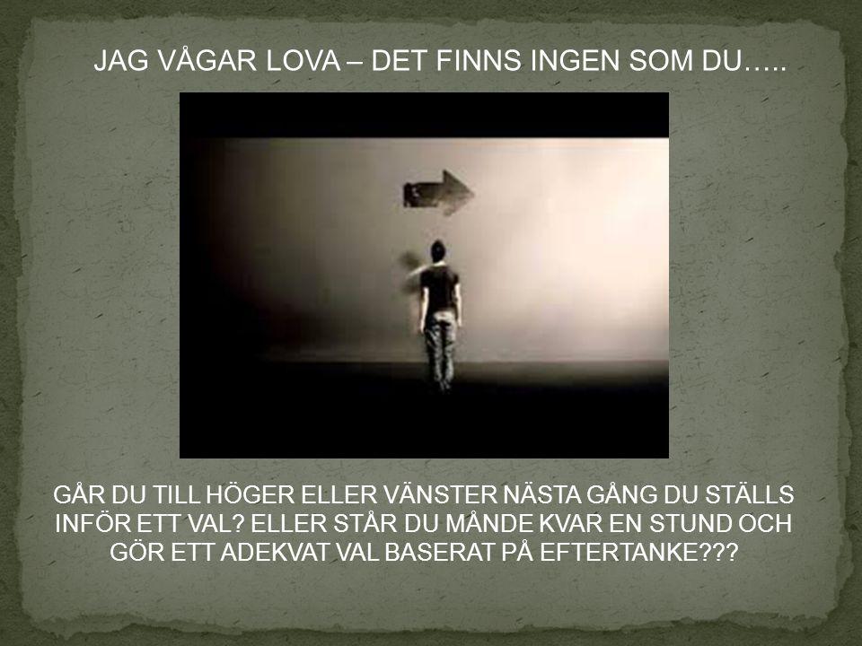 JAG VÅGAR LOVA – DET FINNS INGEN SOM DU…..