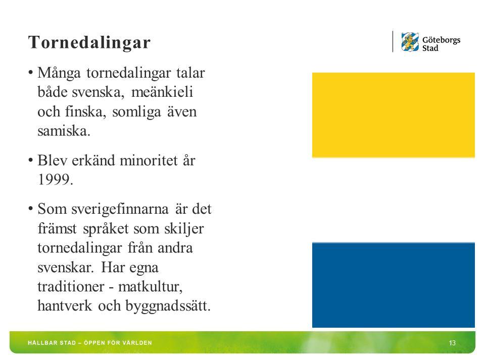 13 Många tornedalingar talar både svenska, meänkieli och finska, somliga även samiska.