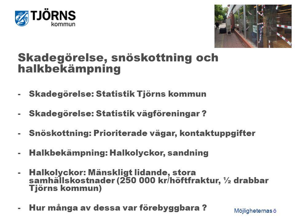 Möjligheternas ö Skadegörelse, snöskottning och halkbekämpning -Skadegörelse: Statistik Tjörns kommun -Skadegörelse: Statistik vägföreningar .