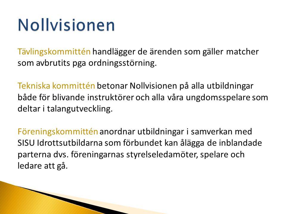 Tävlingskommittén handlägger de ärenden som gäller matcher som avbrutits pga ordningsstörning.