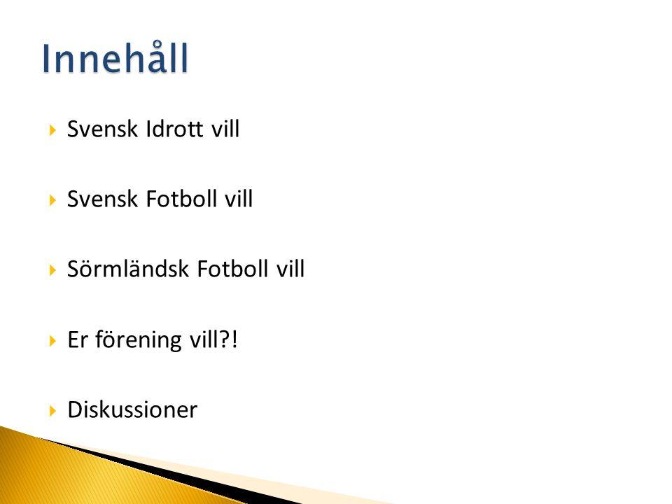  Svensk Idrott vill  Svensk Fotboll vill  Sörmländsk Fotboll vill  Er förening vill?!  Diskussioner