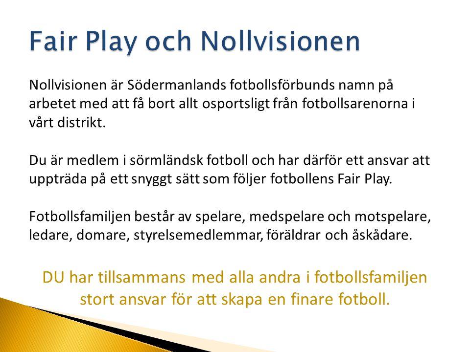 Nollvisionen är Södermanlands fotbollsförbunds namn på arbetet med att få bort allt osportsligt från fotbollsarenorna i vårt distrikt. Du är medlem i