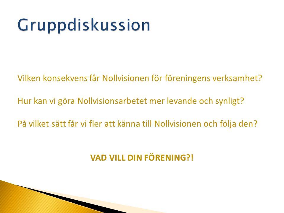 Vilken konsekvens får Nollvisionen för föreningens verksamhet? Hur kan vi göra Nollvisionsarbetet mer levande och synligt? På vilket sätt får vi fler