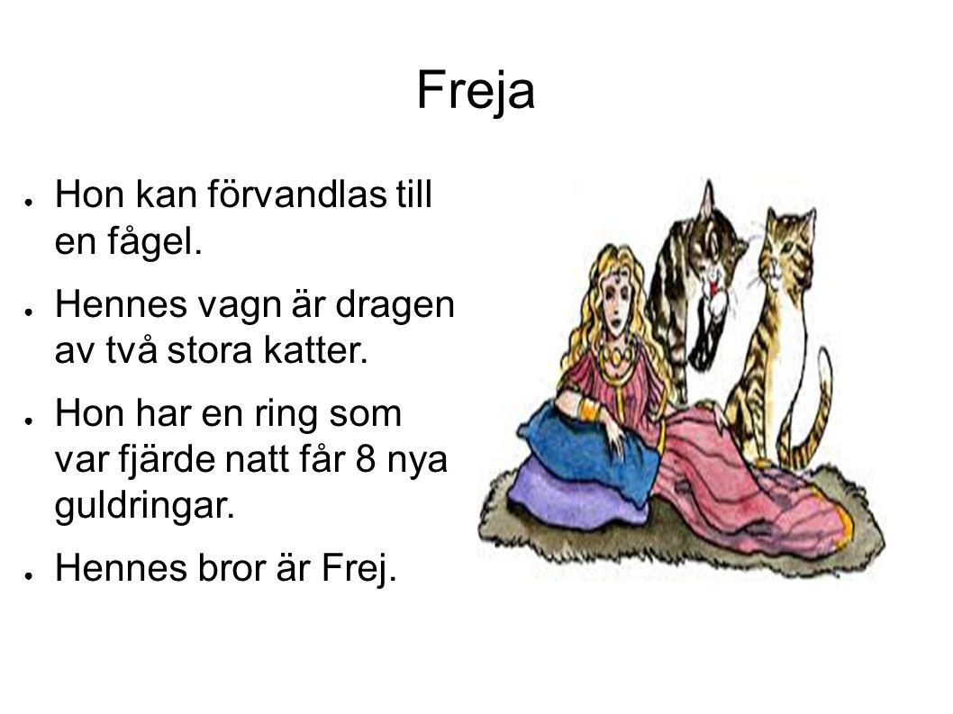 Freja ● Hon kan förvandlas till en fågel. ● Hennes vagn är dragen av två stora katter.