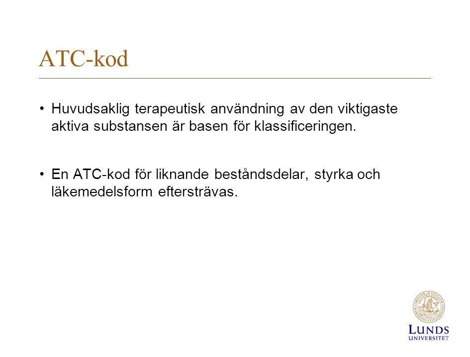 ATC-kod Huvudsaklig terapeutisk användning av den viktigaste aktiva substansen är basen för klassificeringen.