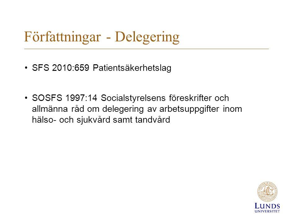 Författningar - Delegering SFS 2010:659 Patientsäkerhetslag SOSFS 1997:14 Socialstyrelsens föreskrifter och allmänna råd om delegering av arbetsuppgifter inom hälso- och sjukvård samt tandvård