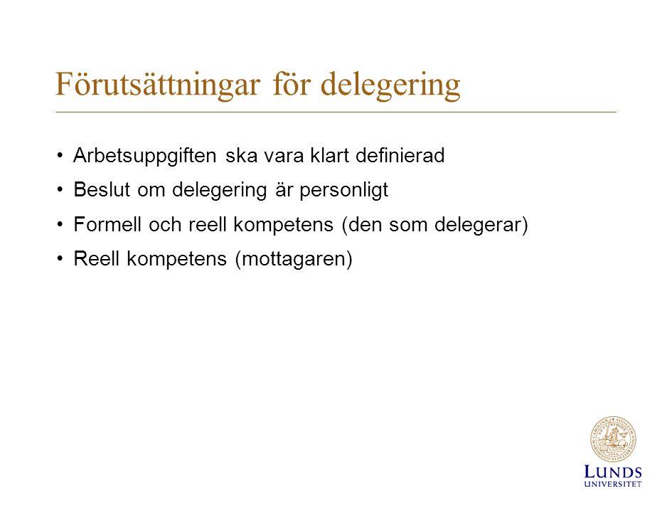 Förutsättningar för delegering Arbetsuppgiften ska vara klart definierad Beslut om delegering är personligt Formell och reell kompetens (den som delegerar) Reell kompetens (mottagaren)
