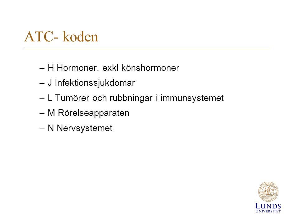 ATC - koden –P Antiparasitära, insektsdödande och repellerande medel –R Andningsorganen –S Ögon och öron –V Varia