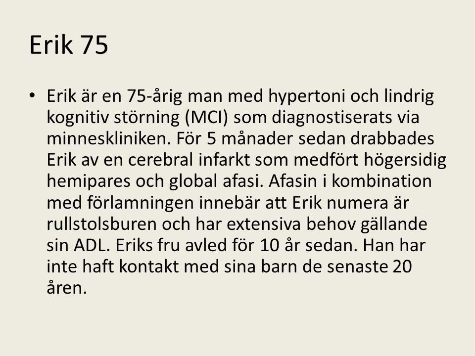 Erik 75 Erik är en 75-årig man med hypertoni och lindrig kognitiv störning (MCI) som diagnostiserats via minneskliniken.