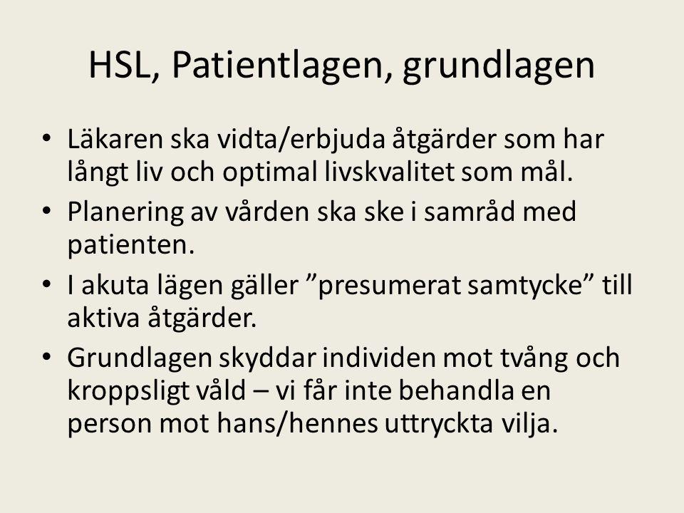 HSL, Patientlagen, grundlagen Läkaren ska vidta/erbjuda åtgärder som har långt liv och optimal livskvalitet som mål.