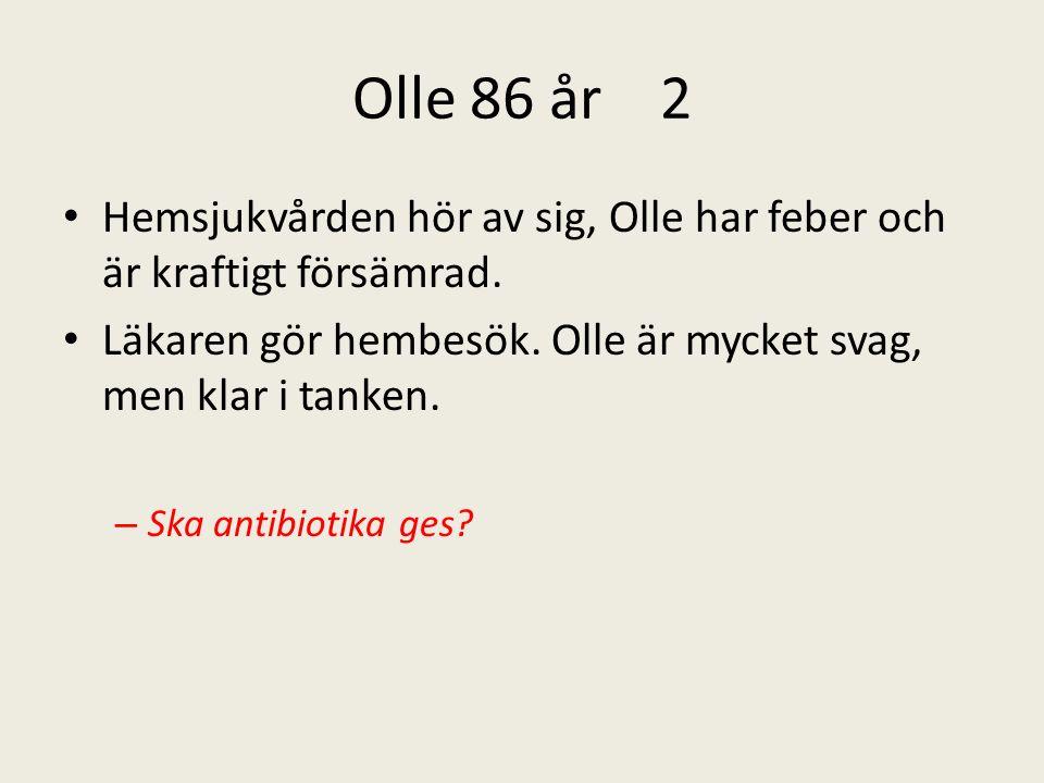 Olle 86 år 2 Hemsjukvården hör av sig, Olle har feber och är kraftigt försämrad.