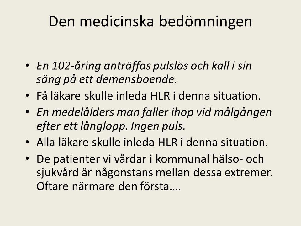 Den medicinska bedömningen En 102-åring anträffas pulslös och kall i sin säng på ett demensboende.