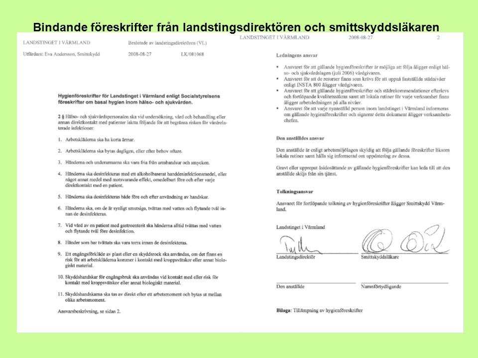 Bindande föreskrifter från landstingsdirektören och smittskyddsläkaren