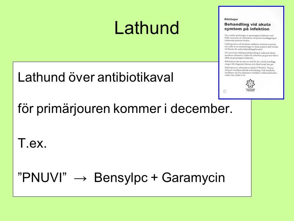 "Lathund Lathund över antibiotikaval för primärjouren kommer i december. T.ex. ""PNUVI"" → Bensylpc + Garamycin"