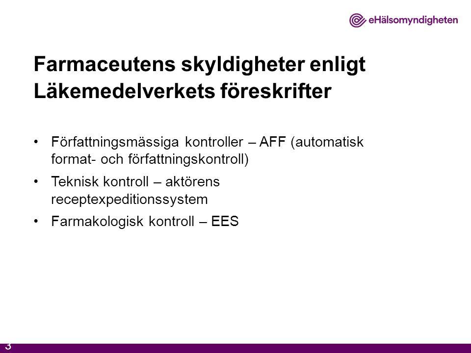 Farmaceutens skyldigheter enligt Läkemedelverkets föreskrifter Författningsmässiga kontroller – AFF (automatisk format- och författningskontroll) Tekn