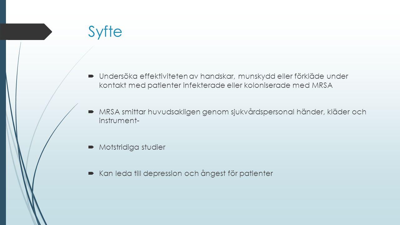 Syfte  Undersöka effektiviteten av handskar, munskydd eller förkläde under kontakt med patienter infekterade eller koloniserade med MRSA  MRSA smittar huvudsakligen genom sjukvårdspersonal händer, kläder och instrument-  Motstridiga studier  Kan leda till depression och ångest för patienter