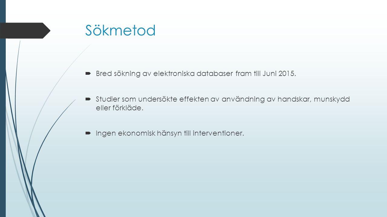 Sökmetod  Bred sökning av elektroniska databaser fram till Juni 2015.