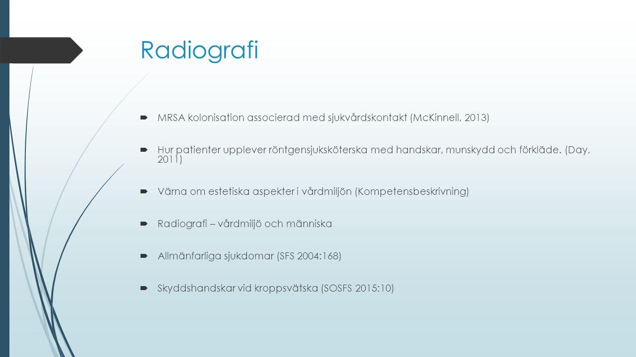 Radiografi  MRSA kolonisation associerad med sjukvårdskontakt (McKinnell, 2013)  Hur patienter upplever röntgensjuksköterska med handskar, munskydd och förkläde.
