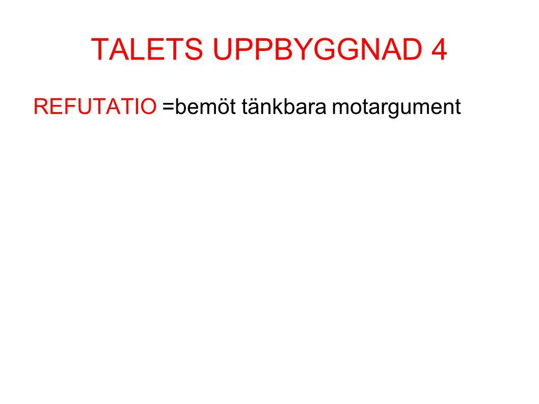 TALETS UPPBYGGNAD 4 REFUTATIO =bemöt tänkbara motargument