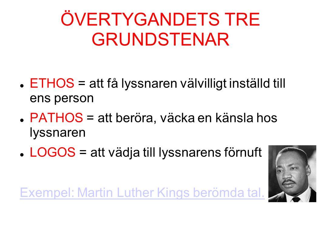 ÖVERTYGANDETS TRE GRUNDSTENAR ETHOS = att få lyssnaren välvilligt inställd till ens person PATHOS = att beröra, väcka en känsla hos lyssnaren LOGOS = att vädja till lyssnarens förnuft Exempel: Martin Luther Kings berömda tal.