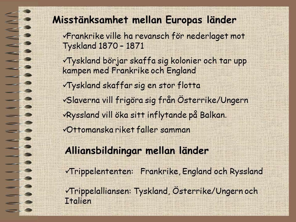 Alliansbildningar mellan länder Trippelententen: Frankrike, England och Ryssland Trippelalliansen: Tyskland, Österrike/Ungern och Italien Frankrike vi