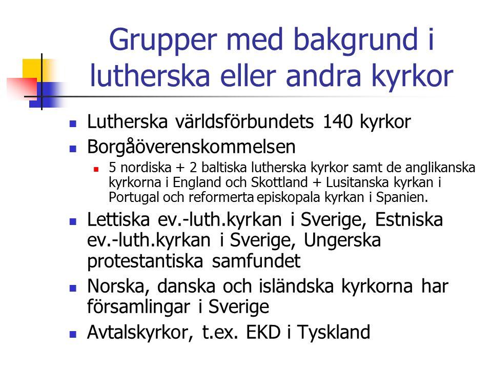 Grupper med bakgrund i lutherska eller andra kyrkor Lutherska världsförbundets 140 kyrkor Borgåöverenskommelsen 5 nordiska + 2 baltiska lutherska kyrkor samt de anglikanska kyrkorna i England och Skottland + Lusitanska kyrkan i Portugal och reformerta episkopala kyrkan i Spanien.