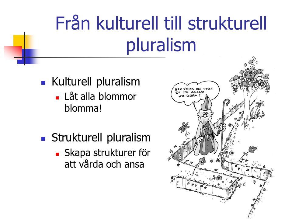 Från kulturell till strukturell pluralism Kulturell pluralism Låt alla blommor blomma.