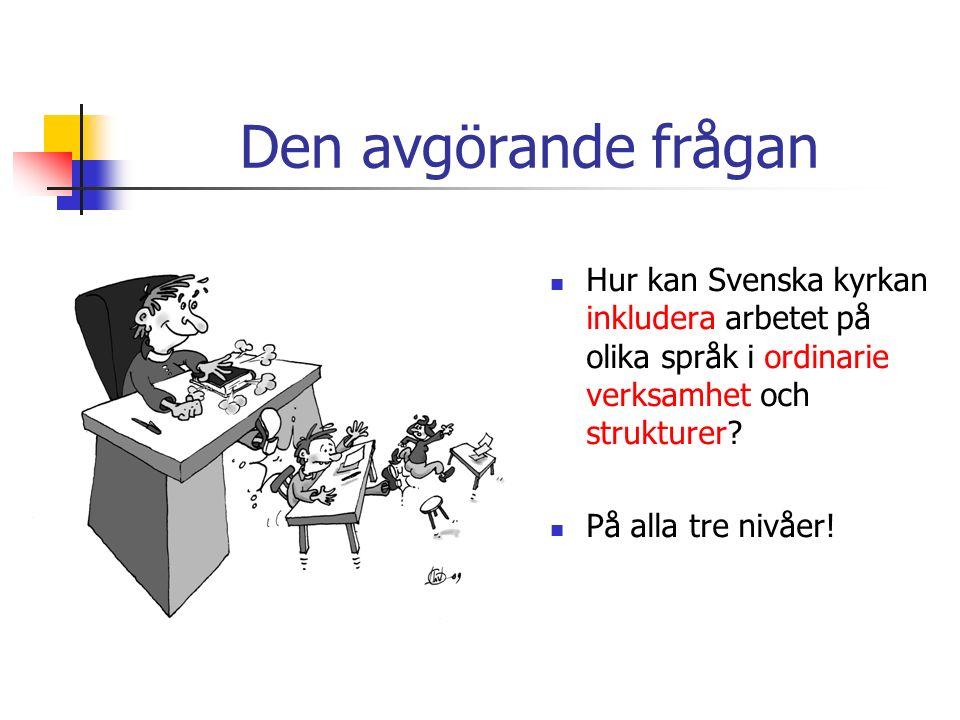 Den avgörande frågan Hur kan Svenska kyrkan inkludera arbetet på olika språk i ordinarie verksamhet och strukturer.