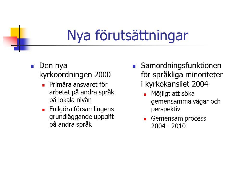 Nya förutsättningar Den nya kyrkoordningen 2000 Primära ansvaret för arbetet på andra språk på lokala nivån Fullgöra församlingens grundläggande uppgift på andra språk Samordningsfunktionen för språkliga minoriteter i kyrkokansliet 2004 Möjligt att söka gemensamma vägar och perspektiv Gemensam process 2004 - 2010
