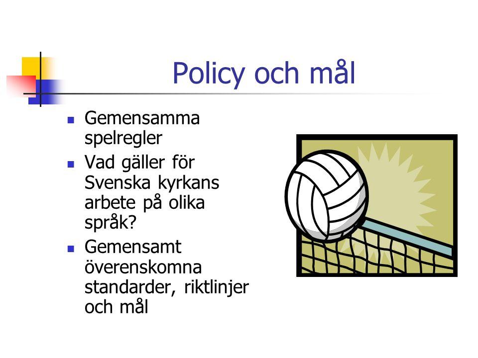Policy och mål Gemensamma spelregler Vad gäller för Svenska kyrkans arbete på olika språk.