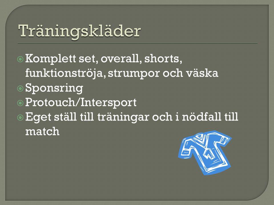  Komplett set, overall, shorts, funktionströja, strumpor och väska  Sponsring  Protouch/Intersport  Eget ställ till träningar och i nödfall till match
