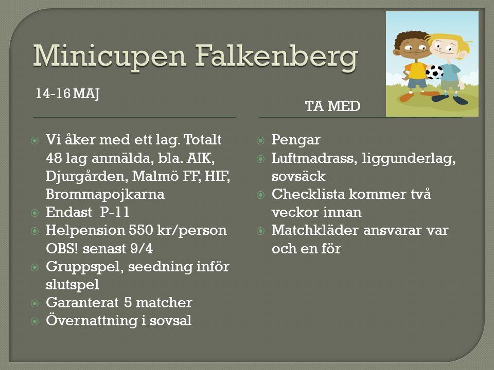  Seriestart Nordvästra A 17 april, sista våromgången den 19 juni, hemma-bortamöte, 18 augusti vänder serien, 10 oktober sista matchen  Seriestart Sydvästra D 24 april, sista våromgången 12 juni, ny serieindelning till hösten  Cup Falkenberg 14-16 maj (1 lag)  Eskilscupen 6-8 augusti (1 lag)  Ev.