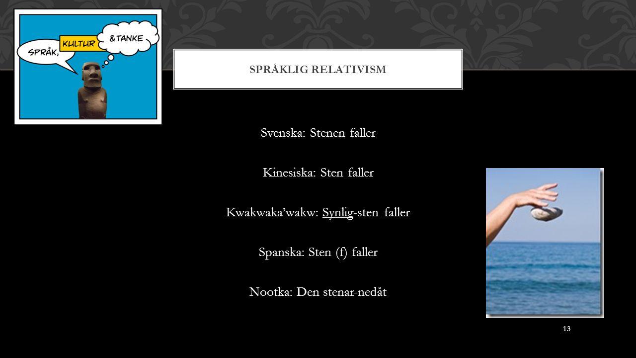 SPRÅKLIG RELATIVISM Svenska: Stenen faller Kinesiska: Sten faller Kwakwaka'wakw: Synlig-sten faller Spanska: Sten (f) faller Nootka: Den stenar-nedåt 13