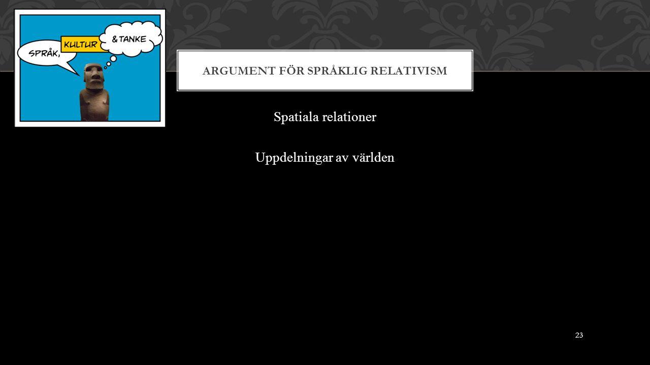 ARGUMENT FÖR SPRÅKLIG RELATIVISM Spatiala relationer Uppdelningar av världen 23