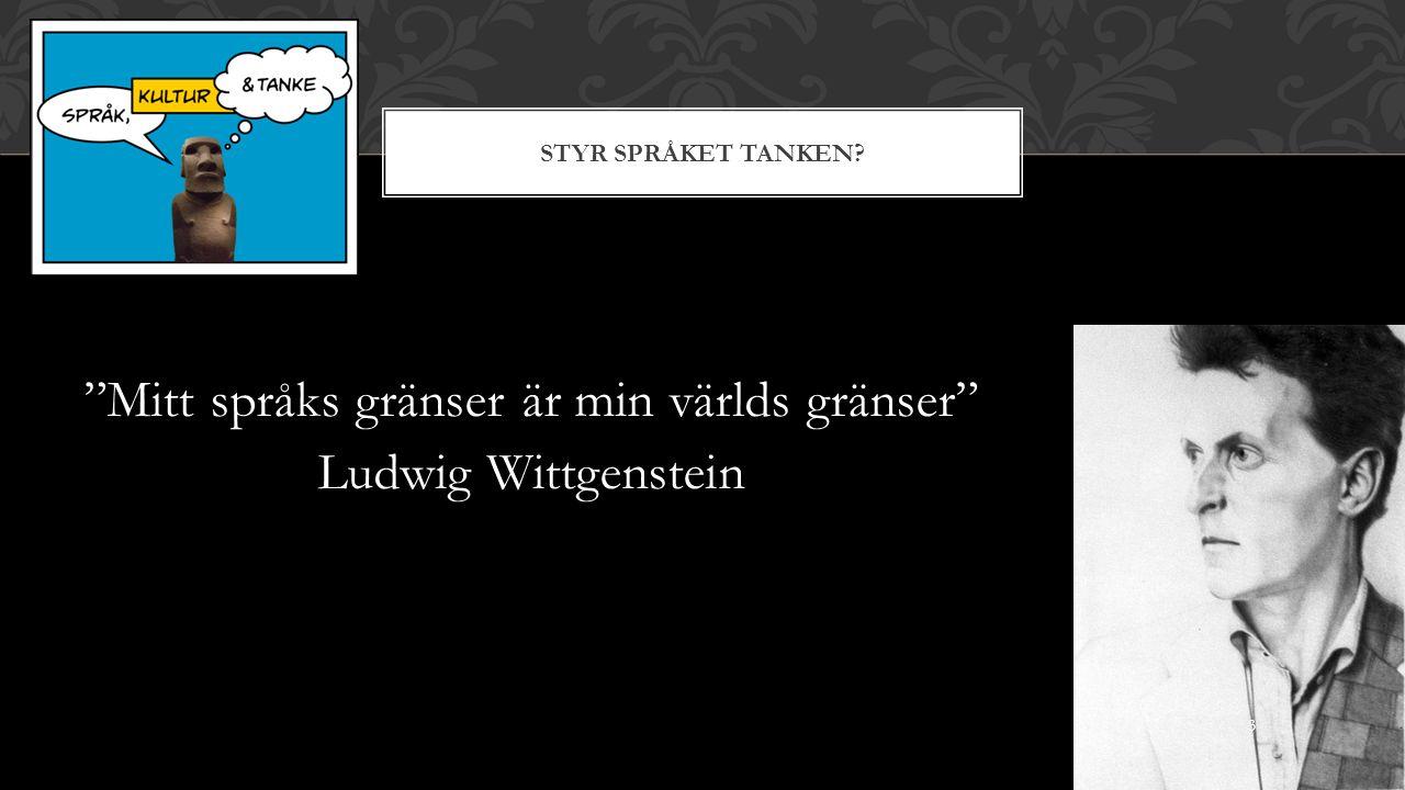 STYR SPRÅKET TANKEN Mitt språks gränser är min världs gränser Ludwig Wittgenstein 3