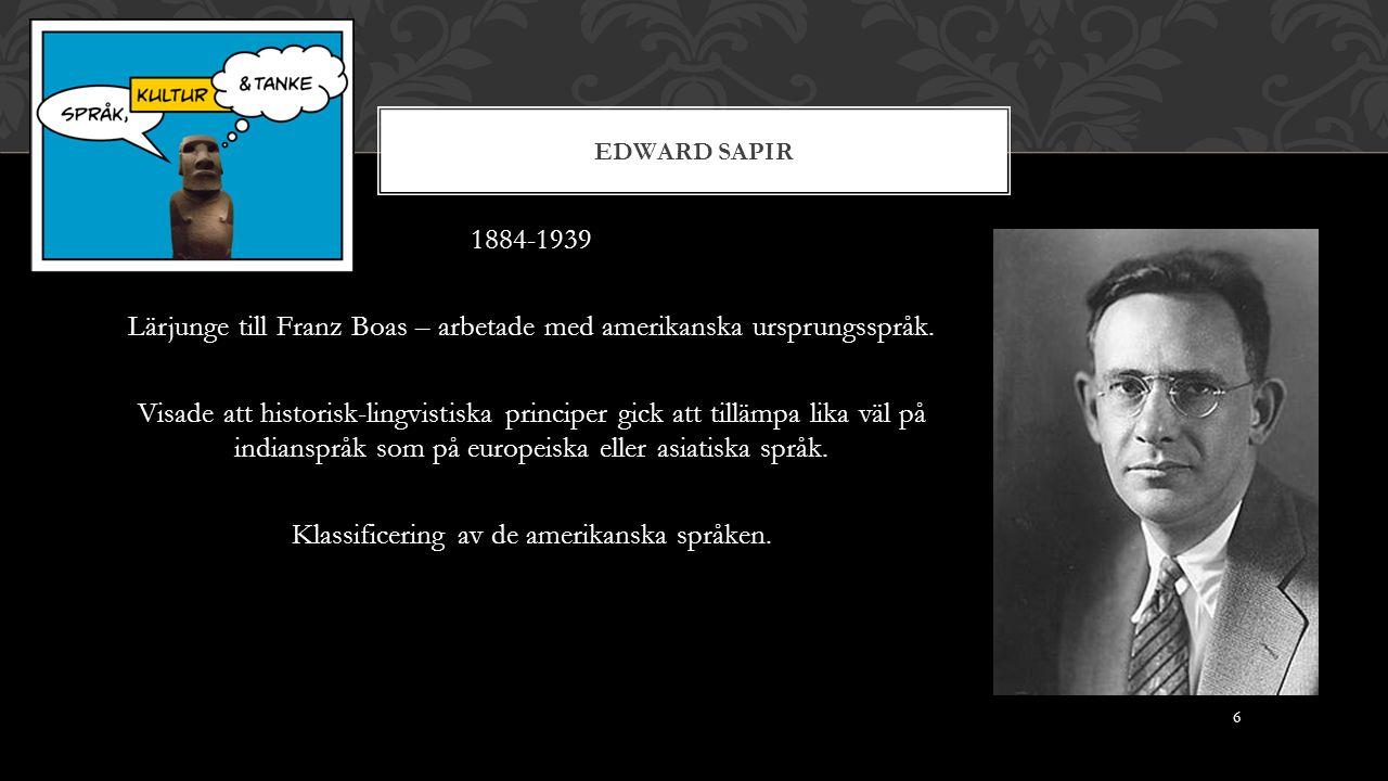 EDWARD SAPIR 1884-1939 Lärjunge till Franz Boas – arbetade med amerikanska ursprungsspråk.