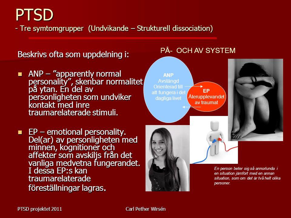 """PTSD projektet 2011Carl Pether Wirsén Beskrivs ofta som uppdelning i: ANP – """"apparently normal personality"""", skenbar normalitet på ytan. En del av per"""