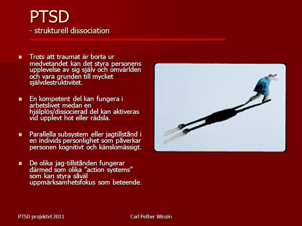 PTSD projektet 2011Carl Pether Wirsén Trots att traumat ä r borta ur medvetandet kan det styra personens upplevelse av sig sj ä lv och omv ä rlden och vara grunden till mycket sj ä lvdestruktivitet.