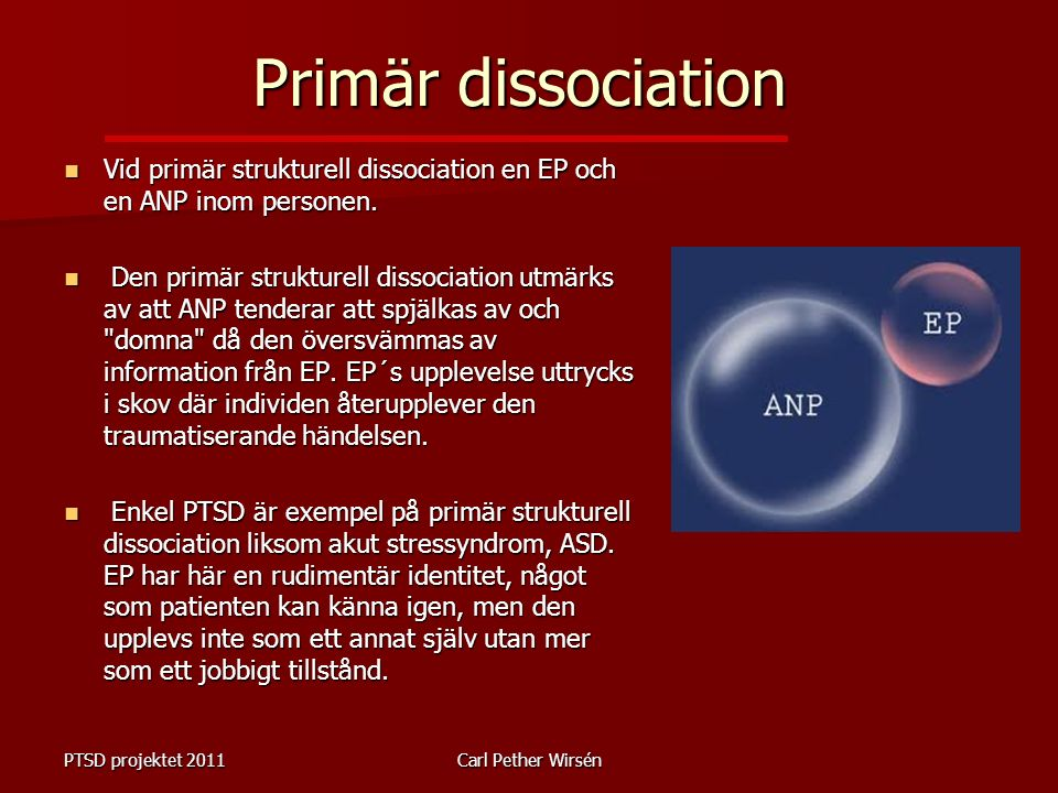 Primär dissociation Vid primär strukturell dissociation en EP och en ANP inom personen.
