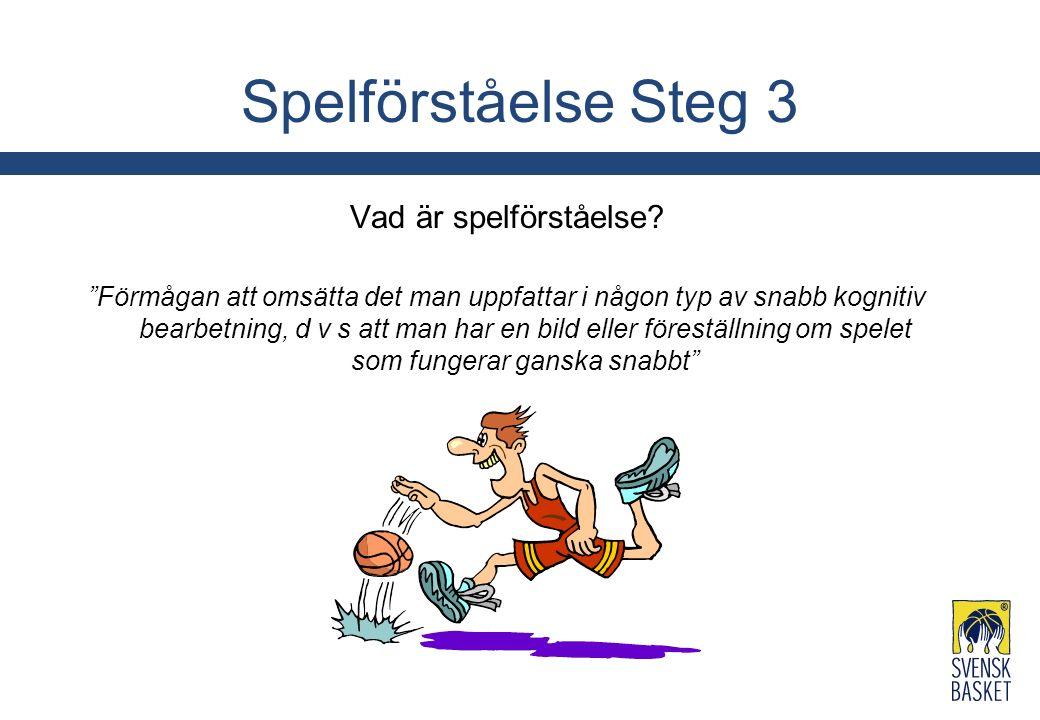 """Spelförståelse Steg 3 Vad är spelförståelse? """"Förmågan att omsätta det man uppfattar i någon typ av snabb kognitiv bearbetning, d v s att man har en b"""