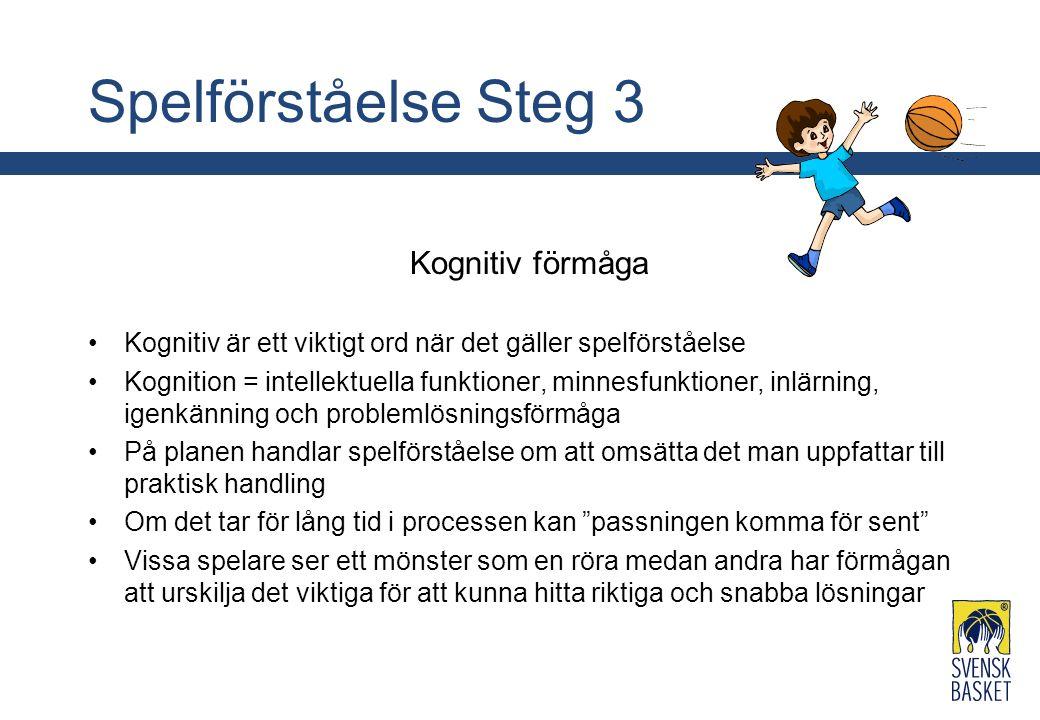 Spelförståelse Steg 3 Kognitiv förmåga Kognitiv är ett viktigt ord när det gäller spelförståelse Kognition = intellektuella funktioner, minnesfunktion