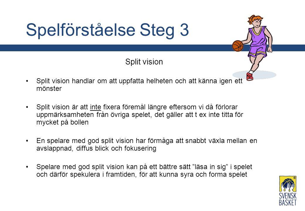 Spelförståelse Steg 3 Split vision Split vision handlar om att uppfatta helheten och att känna igen ett mönster Split vision är att inte fixera föremå