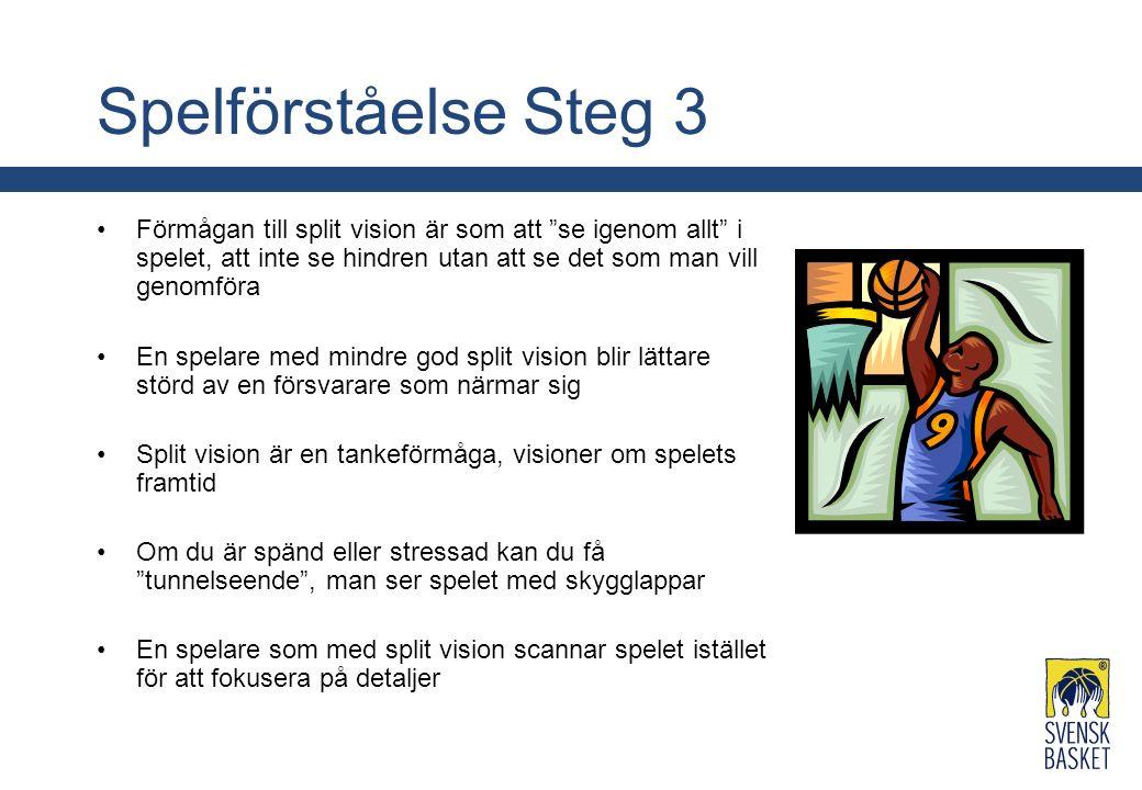 """Spelförståelse Steg 3 Förmågan till split vision är som att """"se igenom allt"""" i spelet, att inte se hindren utan att se det som man vill genomföra En s"""