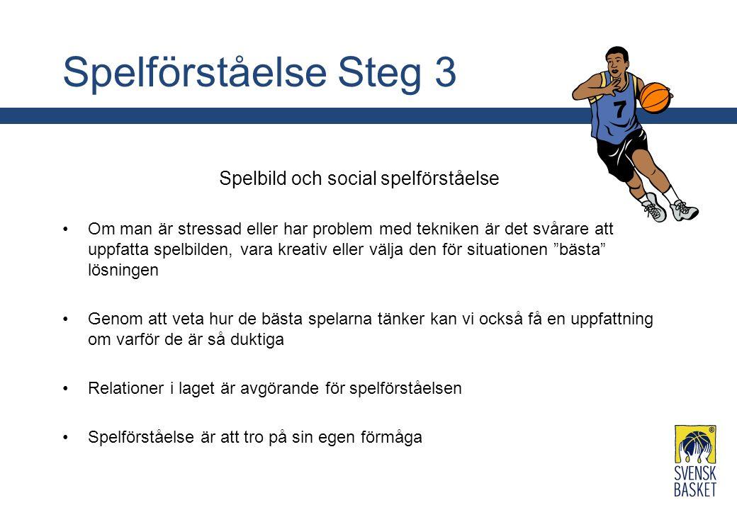 Spelförståelse Steg 3 Spelbild och social spelförståelse Om man är stressad eller har problem med tekniken är det svårare att uppfatta spelbilden, var